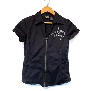Harley Davidson zip front black shirt rhinestone